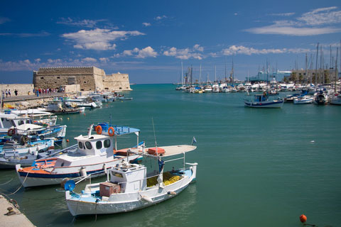 harbour at Heraklion, with the Venetian fortress.