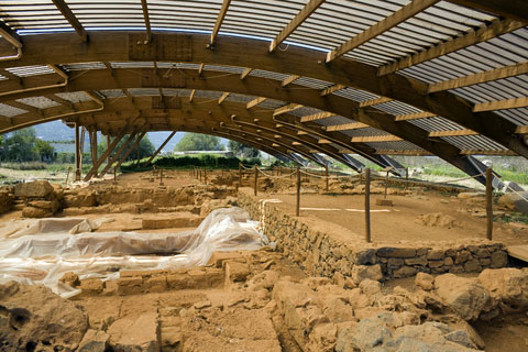 Excavations at Malia with roof