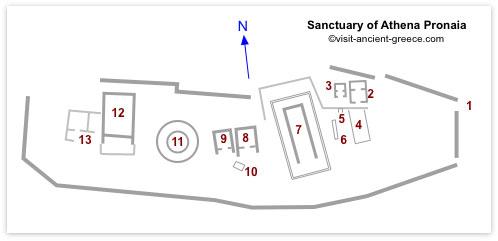 plan of Sanctuary of Athena Pronaia