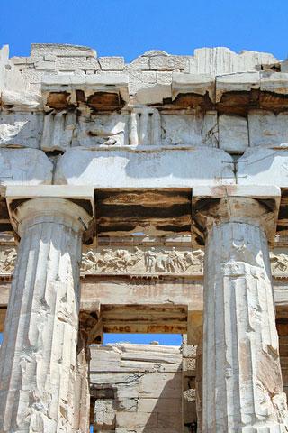 Metopes, triglyphs and frieze of Parthenon, Acropolis