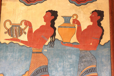 fresco of two girls and pots