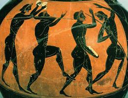 Javelin throwers on pottery illustration
