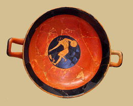 Discus thrower on pottery illustration