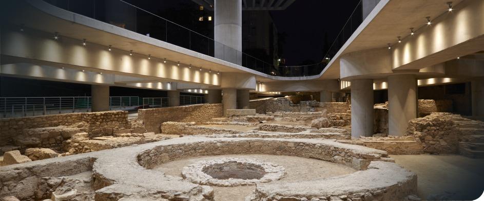 Underground ruins below ground at New Acropolis Museum