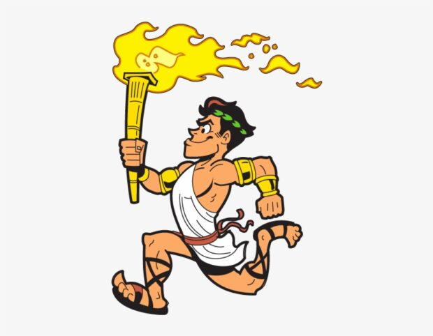 cartoon runner with Olympic torch