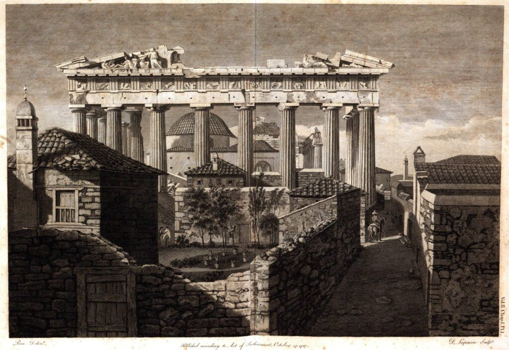 1787 painting of Parthenon with church and mosque