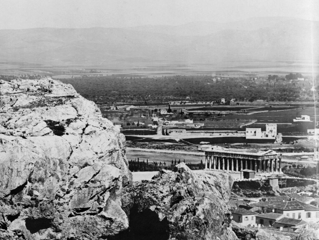 View of west of Acropolis to Thissio and the Stoa of Attalos