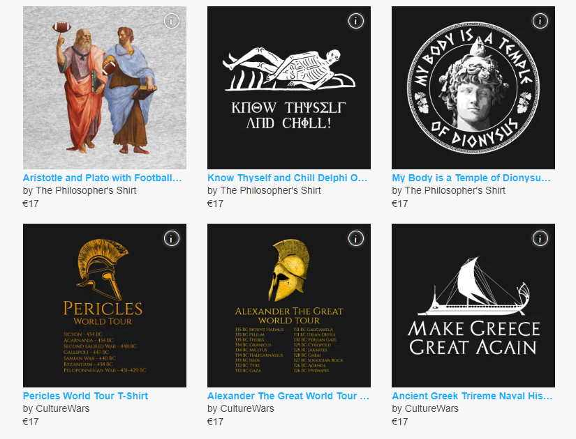 ancient Greece themed merchandise