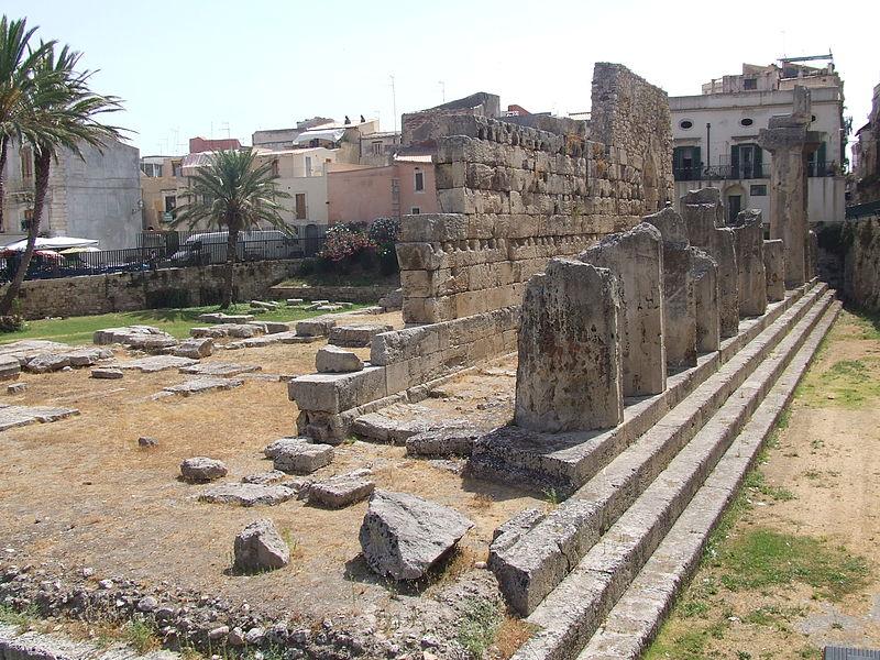 ruins of Temple of Apollo, Syracuse.