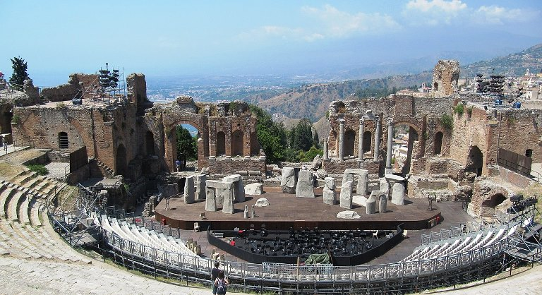 Greek theatre at Taormina set-up for production