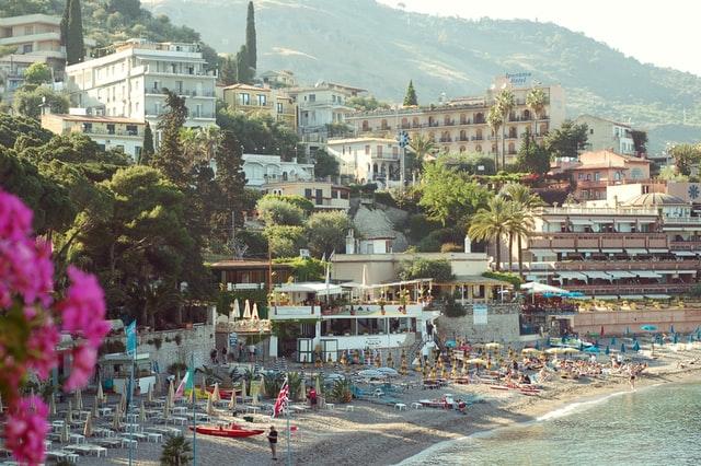 beach at Taormina, Sicily, Italy