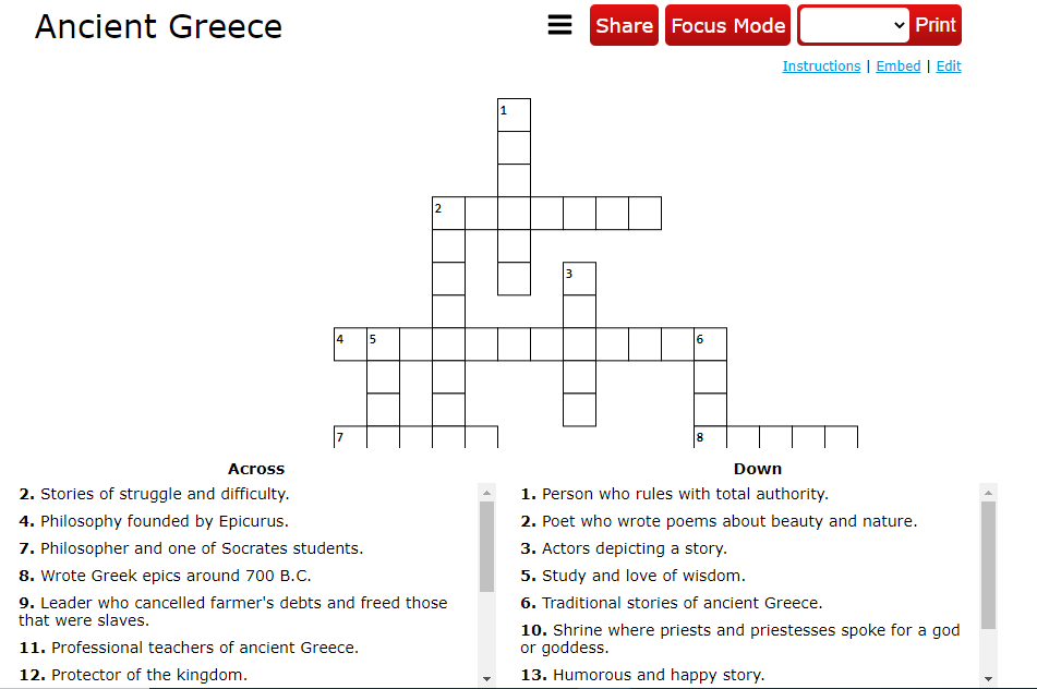 crosswrod puzzle for ancient Greece